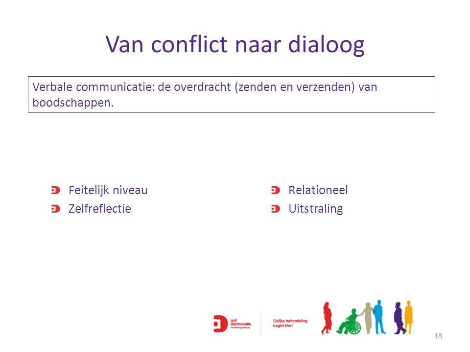 Van conflict naar dialoog Feitelijk niveau Zelfreflectie Relationeel Uitstraling 18 Verbale communicatie: de overdracht (zenden en verzenden) van bood