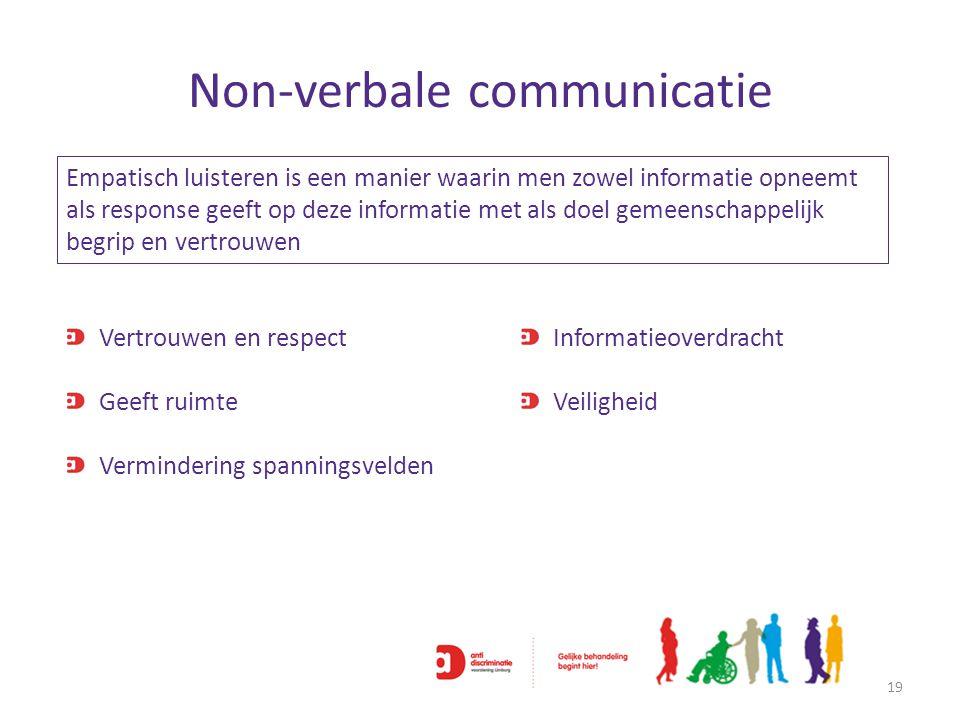Non-verbale communicatie 19 Vertrouwen en respect Geeft ruimte Vermindering spanningsvelden Empatisch luisteren is een manier waarin men zowel informa