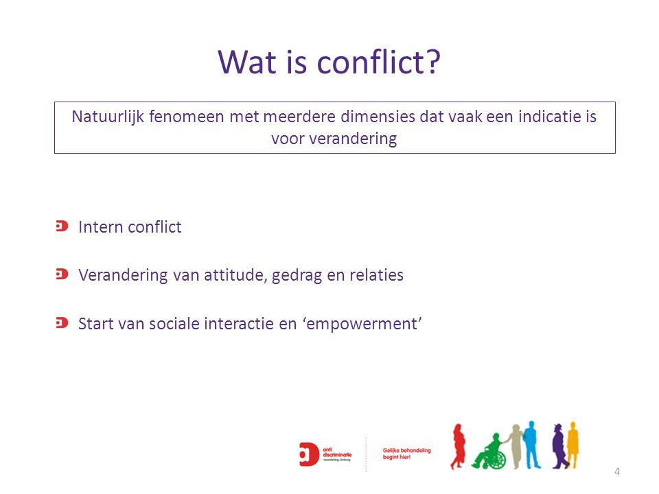 Wat is conflict? 4 Natuurlijk fenomeen met meerdere dimensies dat vaak een indicatie is voor verandering Intern conflict Verandering van attitude, ged