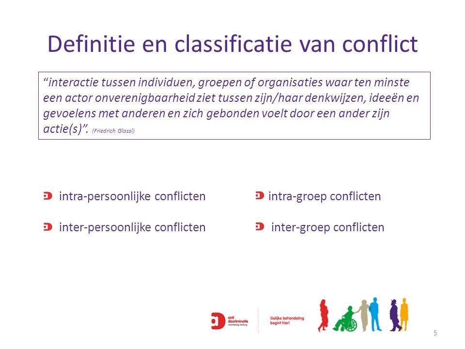 """Definitie en classificatie van conflict 5 """"interactie tussen individuen, groepen of organisaties waar ten minste een actor onverenigbaarheid ziet tuss"""