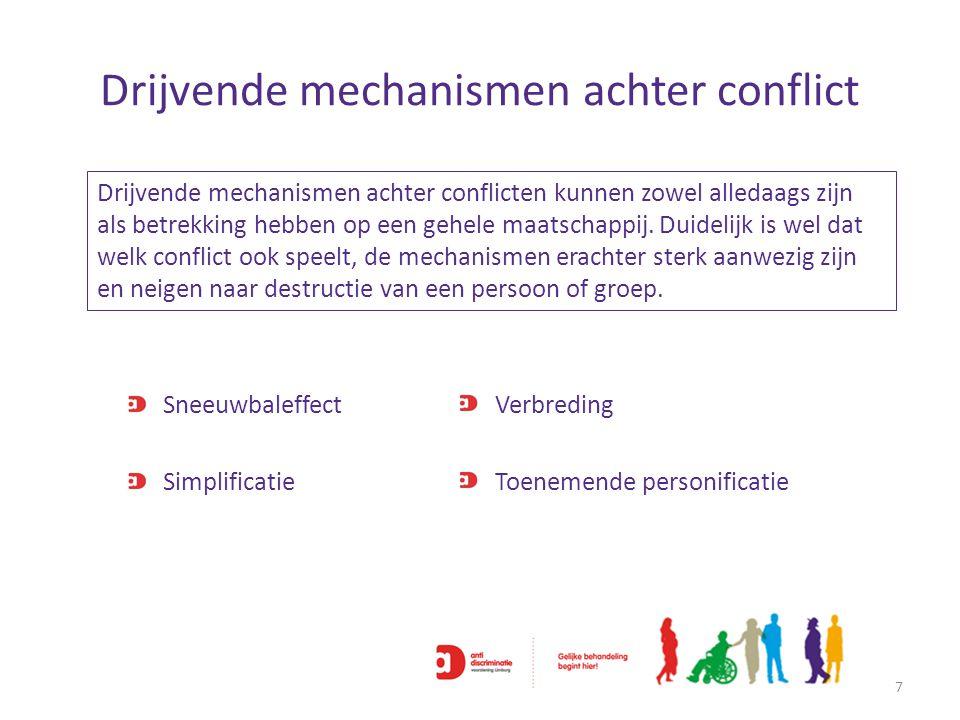 Drijvende mechanismen achter conflict 7 Drijvende mechanismen achter conflicten kunnen zowel alledaags zijn als betrekking hebben op een gehele maatsc