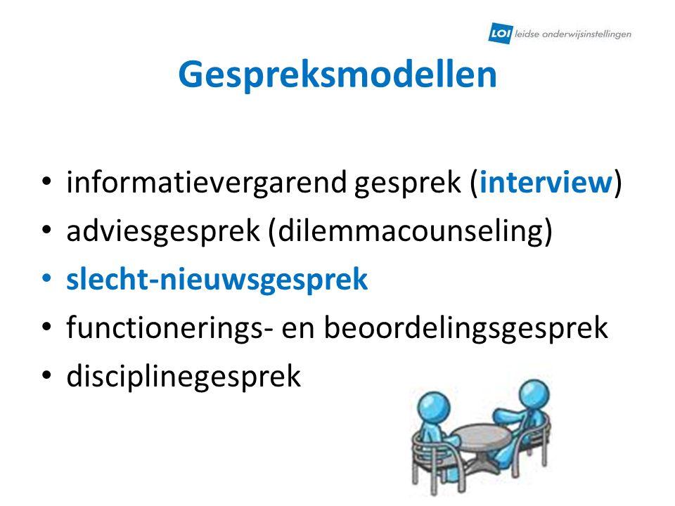 Gespreksmodellen informatievergarend gesprek (interview) adviesgesprek (dilemmacounseling) slecht-nieuwsgesprek functionerings- en beoordelingsgesprek