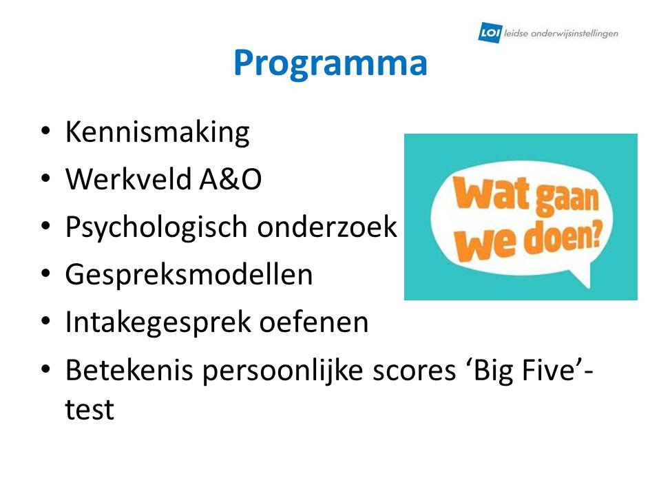 Programma Kennismaking Werkveld A&O Psychologisch onderzoek Gespreksmodellen Intakegesprek oefenen Betekenis persoonlijke scores 'Big Five'- test