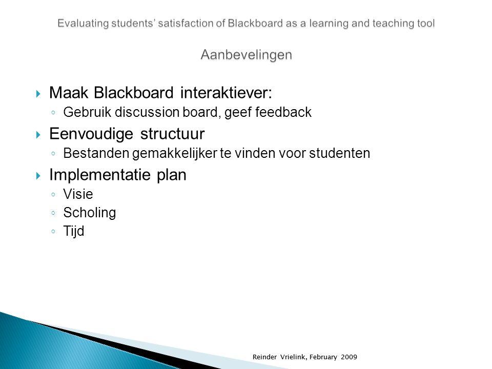 Reinder Vrielink, February 2009  Maak Blackboard interaktiever: ◦ Gebruik discussion board, geef feedback  Eenvoudige structuur ◦ Bestanden gemakkel