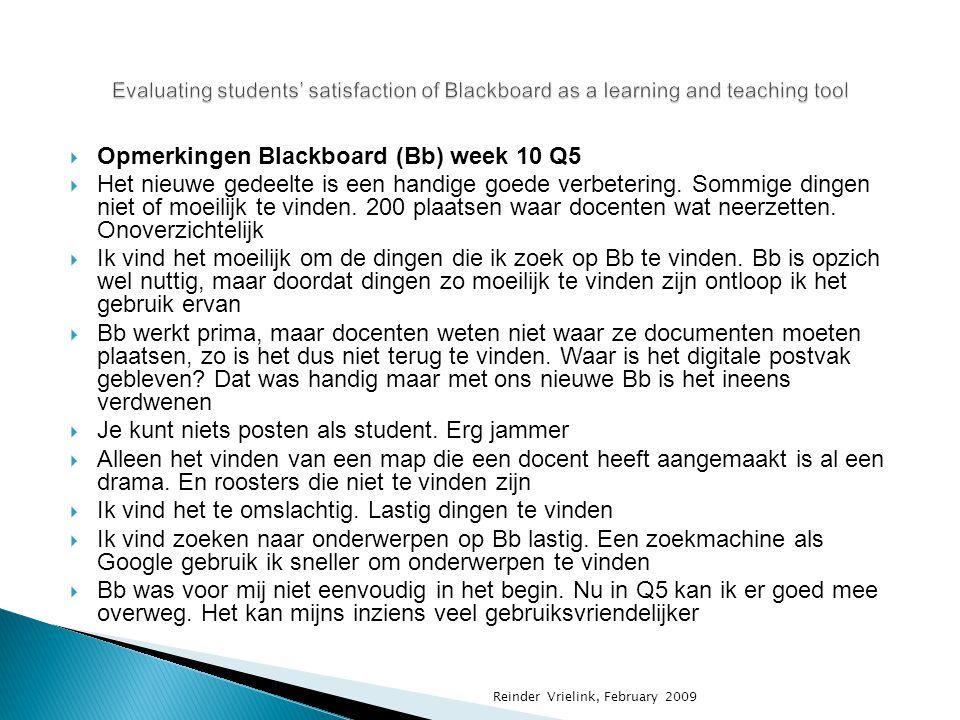  Opmerkingen Blackboard (Bb) week 10 Q5  Het nieuwe gedeelte is een handige goede verbetering. Sommige dingen niet of moeilijk te vinden. 200 plaats