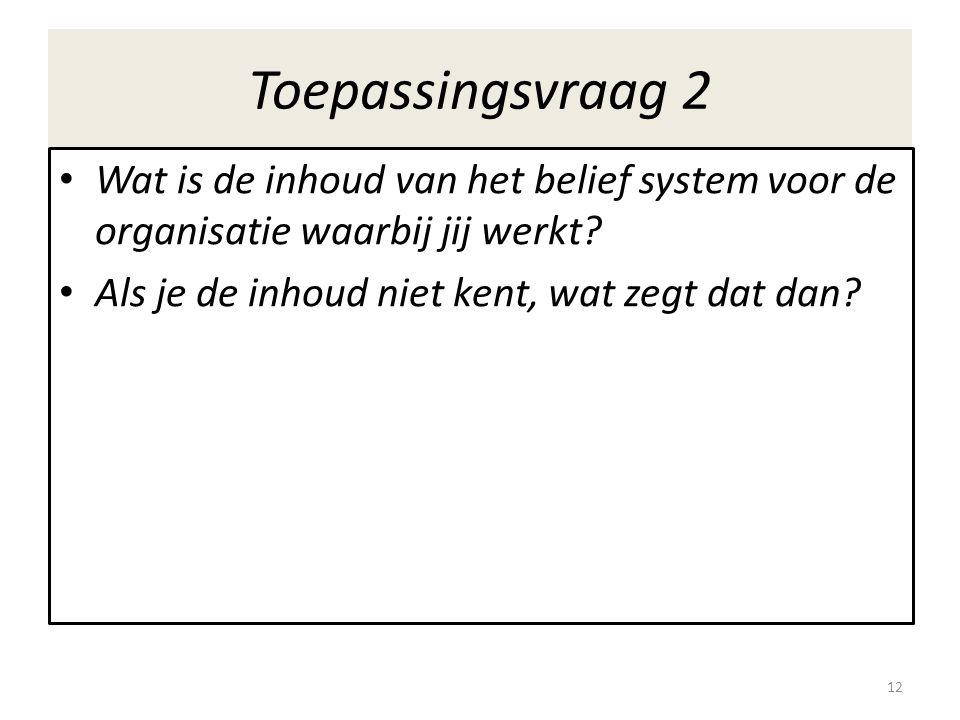 Toepassingsvraag 2 Wat is de inhoud van het belief system voor de organisatie waarbij jij werkt.