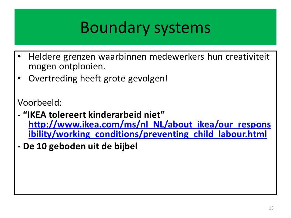 Boundary systems Heldere grenzen waarbinnen medewerkers hun creativiteit mogen ontplooien.