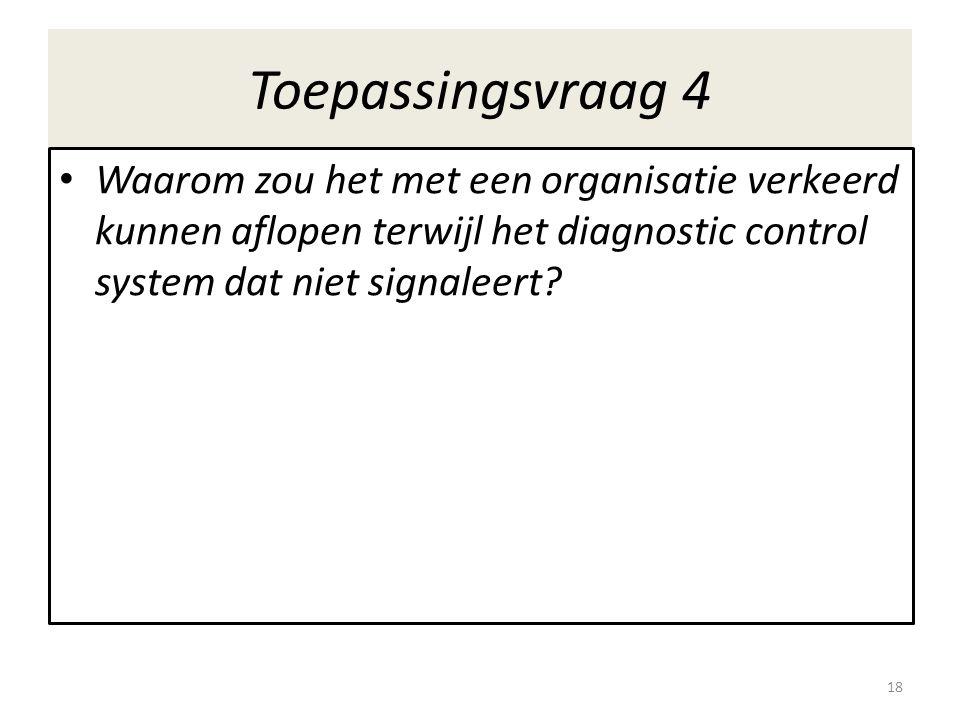 Toepassingsvraag 4 Waarom zou het met een organisatie verkeerd kunnen aflopen terwijl het diagnostic control system dat niet signaleert.