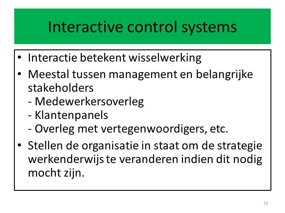 Interactive control systems Interactie betekent wisselwerking Meestal tussen management en belangrijke stakeholders - Medewerkersoverleg - Klantenpanels - Overleg met vertegenwoordigers, etc.