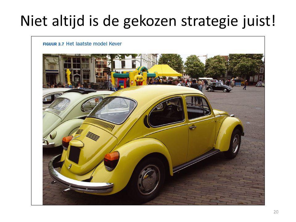 Niet altijd is de gekozen strategie juist! 20