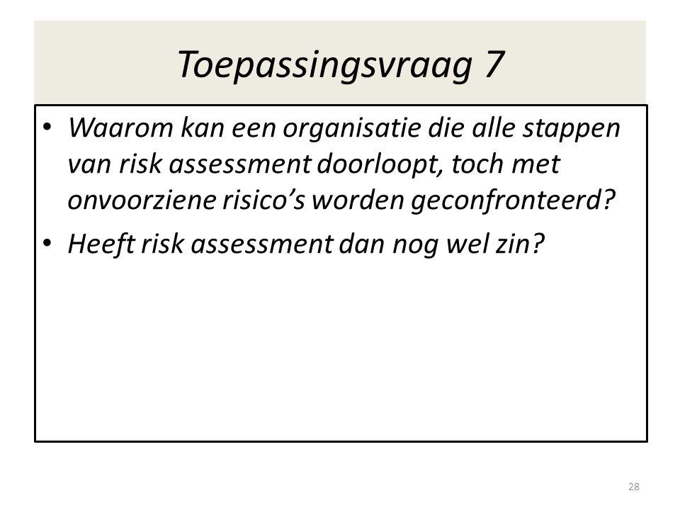 Toepassingsvraag 7 Waarom kan een organisatie die alle stappen van risk assessment doorloopt, toch met onvoorziene risico's worden geconfronteerd.