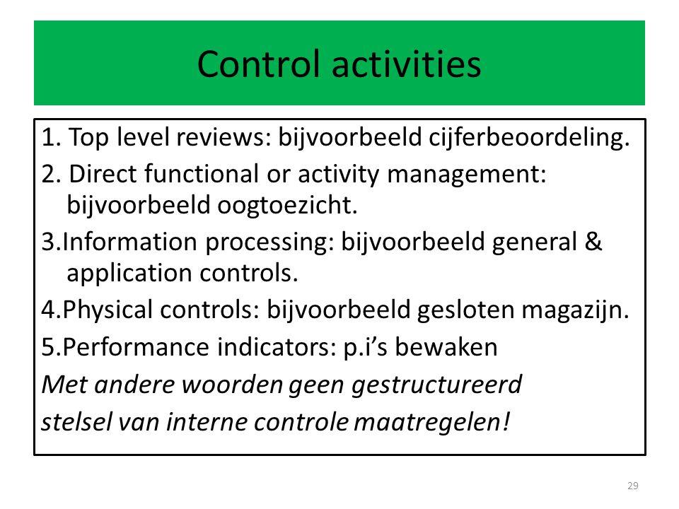 Control activities 1.Top level reviews: bijvoorbeeld cijferbeoordeling.