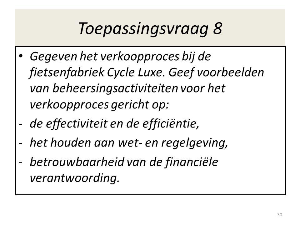 Toepassingsvraag 8 Gegeven het verkoopproces bij de fietsenfabriek Cycle Luxe.