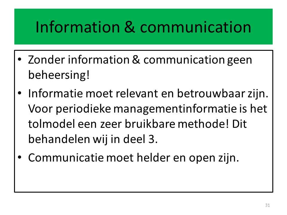 Information & communication Zonder information & communication geen beheersing.