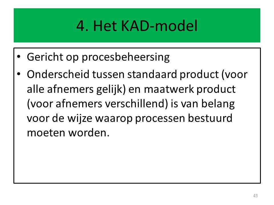 4. Het KAD-model Gericht op procesbeheersing Onderscheid tussen standaard product (voor alle afnemers gelijk) en maatwerk product (voor afnemers versc
