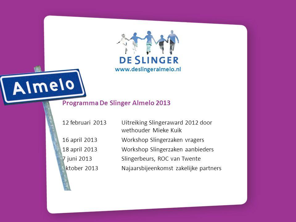 Programma De Slinger Almelo 2013 12 februari 2013 Uitreiking Slingeraward 2012 door wethouder Mieke Kuik 16 april 2013 Workshop Slingerzaken vragers 1