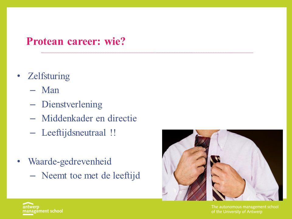 Protean career: wie? Zelfsturing – Man – Dienstverlening – Middenkader en directie – Leeftijdsneutraal !! Waarde-gedrevenheid – Neemt toe met de leeft