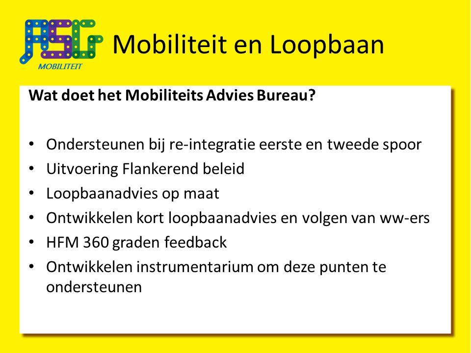 Wat doet het Mobiliteits Advies Bureau? Ondersteunen bij re-integratie eerste en tweede spoor Uitvoering Flankerend beleid Loopbaanadvies op maat Ontw