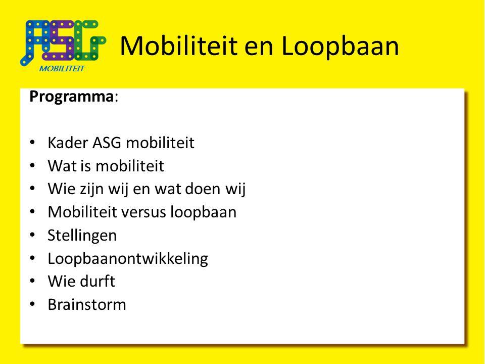 Mobiliteit en Loopbaan Programma: Kader ASG mobiliteit Wat is mobiliteit Wie zijn wij en wat doen wij Mobiliteit versus loopbaan Stellingen Loopbaanon