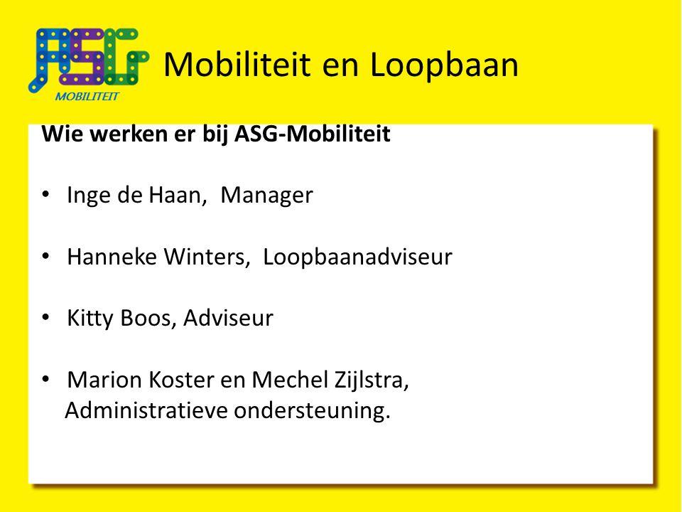 Mobiliteit en Loopbaan Wie werken er bij ASG-Mobiliteit Inge de Haan, Manager Hanneke Winters, Loopbaanadviseur Kitty Boos, Adviseur Marion Koster en