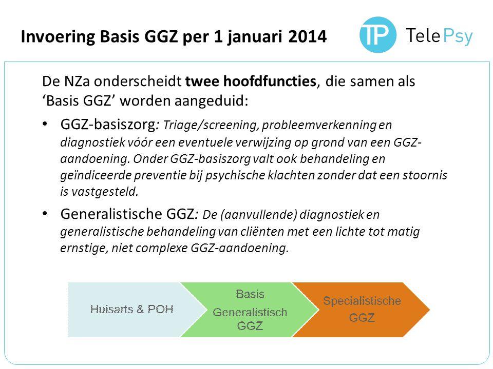 De NZa onderscheidt twee hoofdfuncties, die samen als 'Basis GGZ' worden aangeduid: GGZ-basiszorg: Triage/screening, probleemverkenning en diagnostiek vóór een eventuele verwijzing op grond van een GGZ- aandoening.