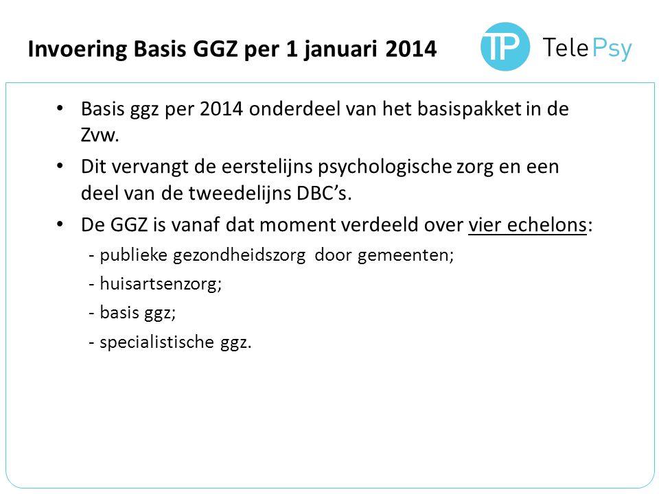 Basis ggz per 2014 onderdeel van het basispakket in de Zvw.