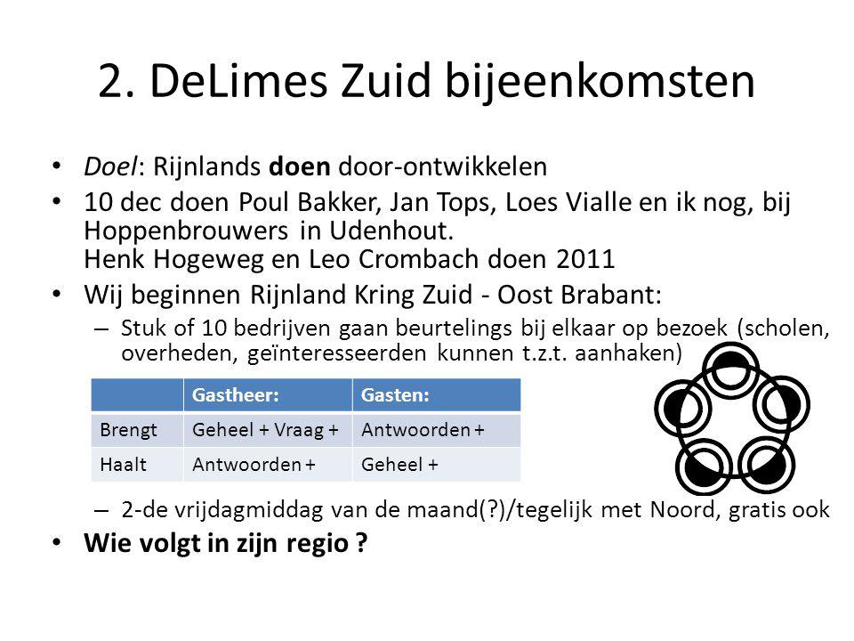 2. DeLimes Zuid bijeenkomsten Doel: Rijnlands doen door-ontwikkelen 10 dec doen Poul Bakker, Jan Tops, Loes Vialle en ik nog, bij Hoppenbrouwers in Ud