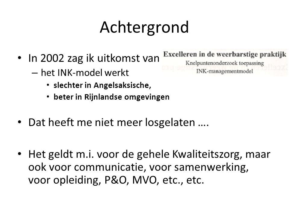 Achtergrond In 2002 zag ik uitkomst van een studie – het INK-model werkt slechter in Angelsaksische, beter in Rijnlandse omgevingen Dat heeft me niet