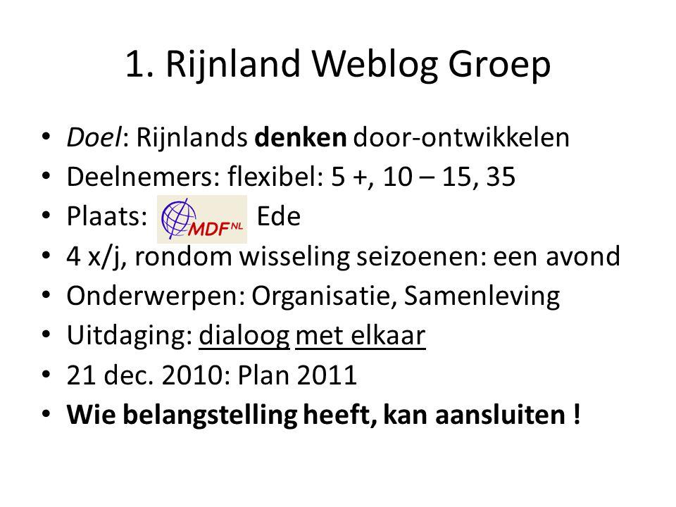 1. Rijnland Weblog Groep Doel: Rijnlands denken door-ontwikkelen Deelnemers: flexibel: 5 +, 10 – 15, 35 Plaats: Ede 4 x/j, rondom wisseling seizoenen: