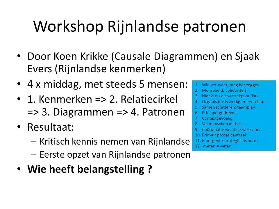 Workshop Rijnlandse patronen Door Koen Krikke (Causale Diagrammen) en Sjaak Evers (Rijnlandse kenmerken) 4 x middag, met steeds 5 mensen: 1. Kenmerken