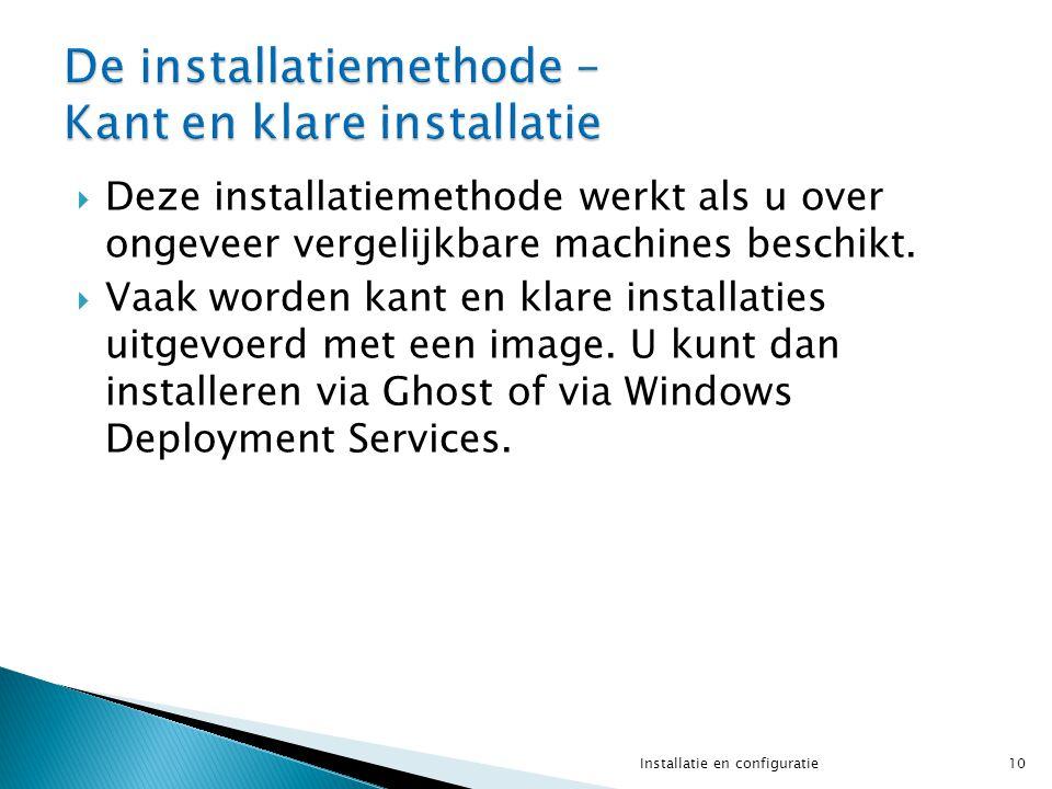  Deze installatiemethode werkt als u over ongeveer vergelijkbare machines beschikt.  Vaak worden kant en klare installaties uitgevoerd met een image