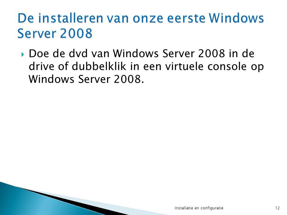  Doe de dvd van Windows Server 2008 in de drive of dubbelklik in een virtuele console op Windows Server 2008. 12Installatie en configuratie
