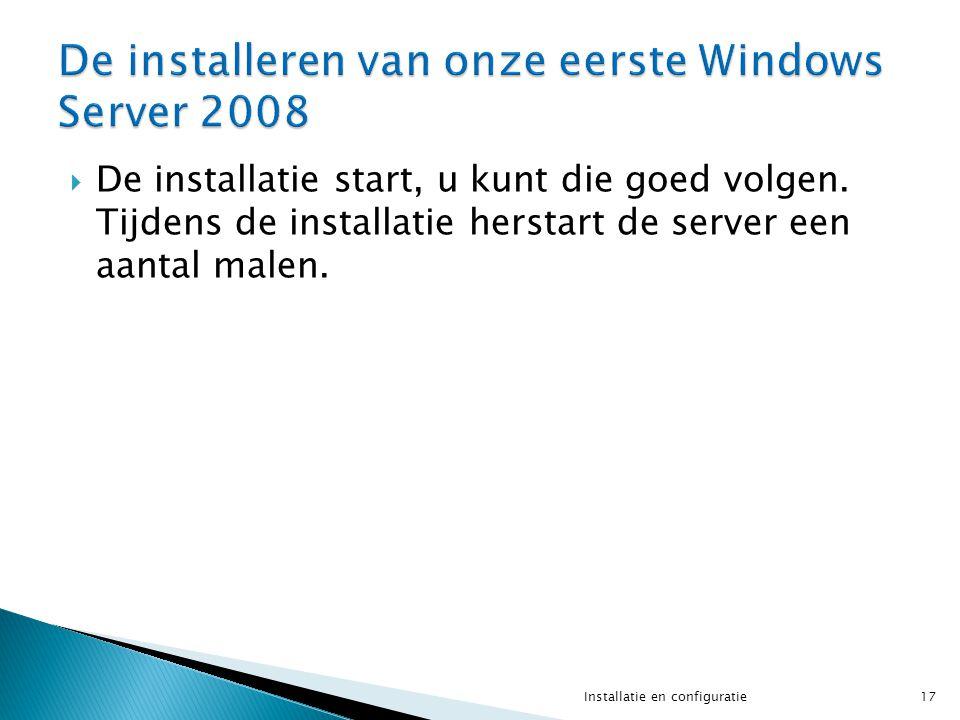 De installatie start, u kunt die goed volgen. Tijdens de installatie herstart de server een aantal malen. 17Installatie en configuratie