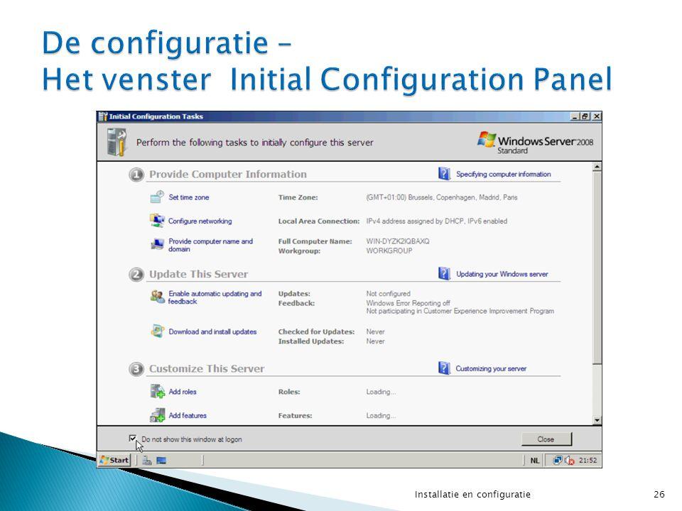 26Installatie en configuratie