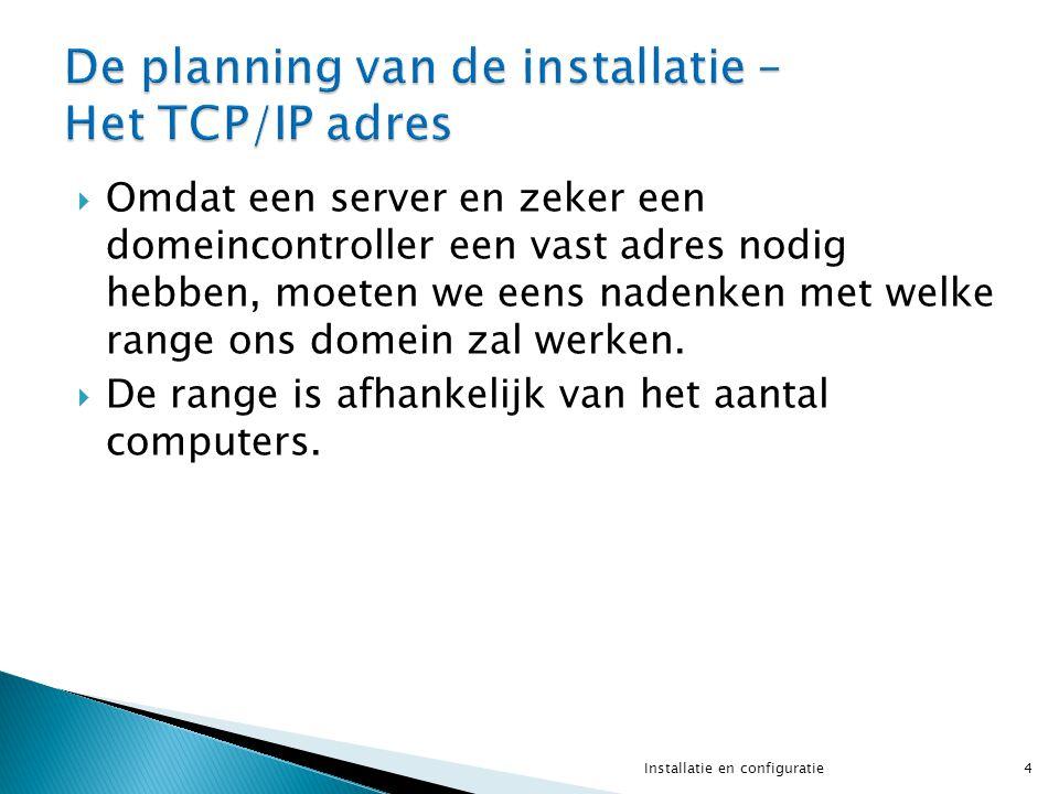  Omdat een server en zeker een domeincontroller een vast adres nodig hebben, moeten we eens nadenken met welke range ons domein zal werken.  De rang