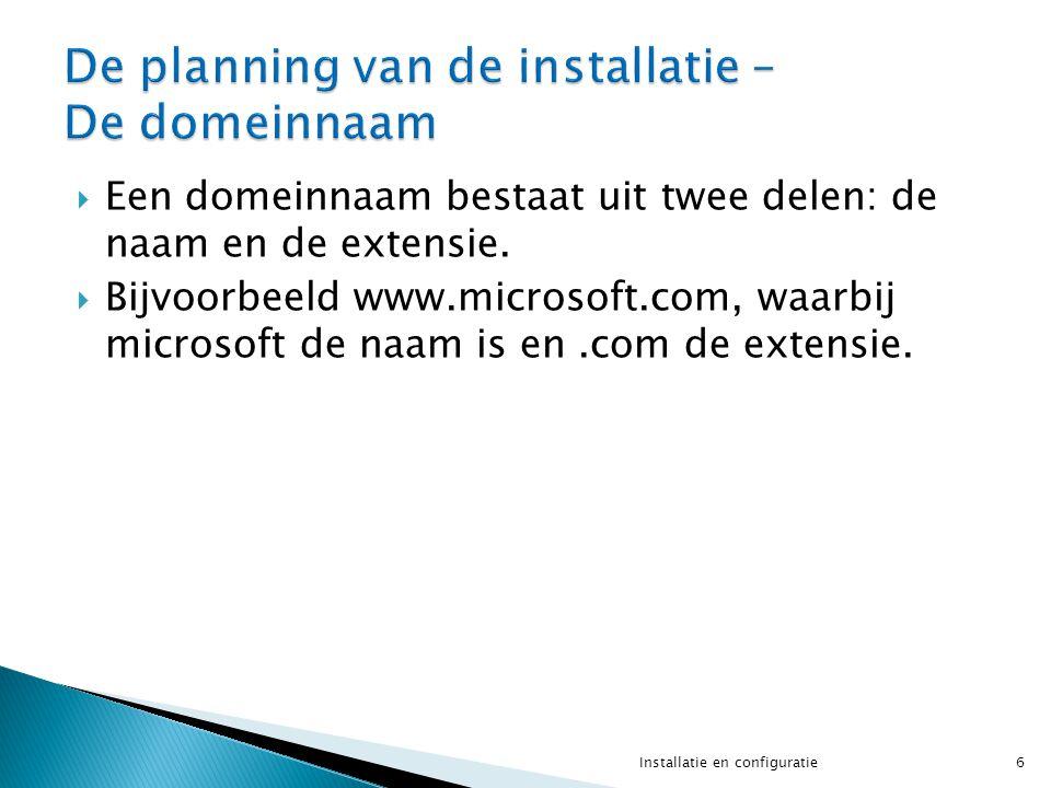  Een domeinnaam bestaat uit twee delen: de naam en de extensie.  Bijvoorbeeld www.microsoft.com, waarbij microsoft de naam is en.com de extensie. 6I