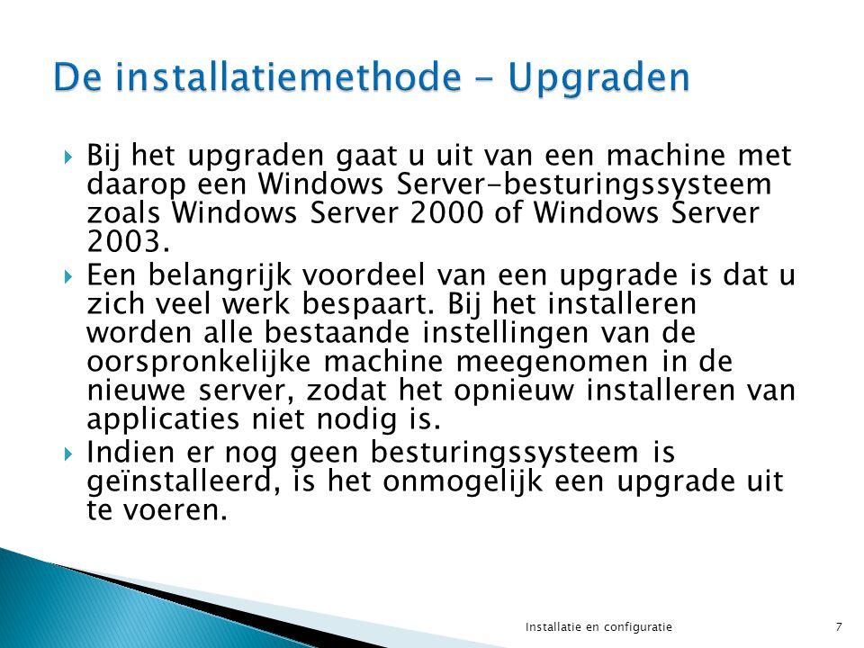  Bij het upgraden gaat u uit van een machine met daarop een Windows Server-besturingssysteem zoals Windows Server 2000 of Windows Server 2003.  Een