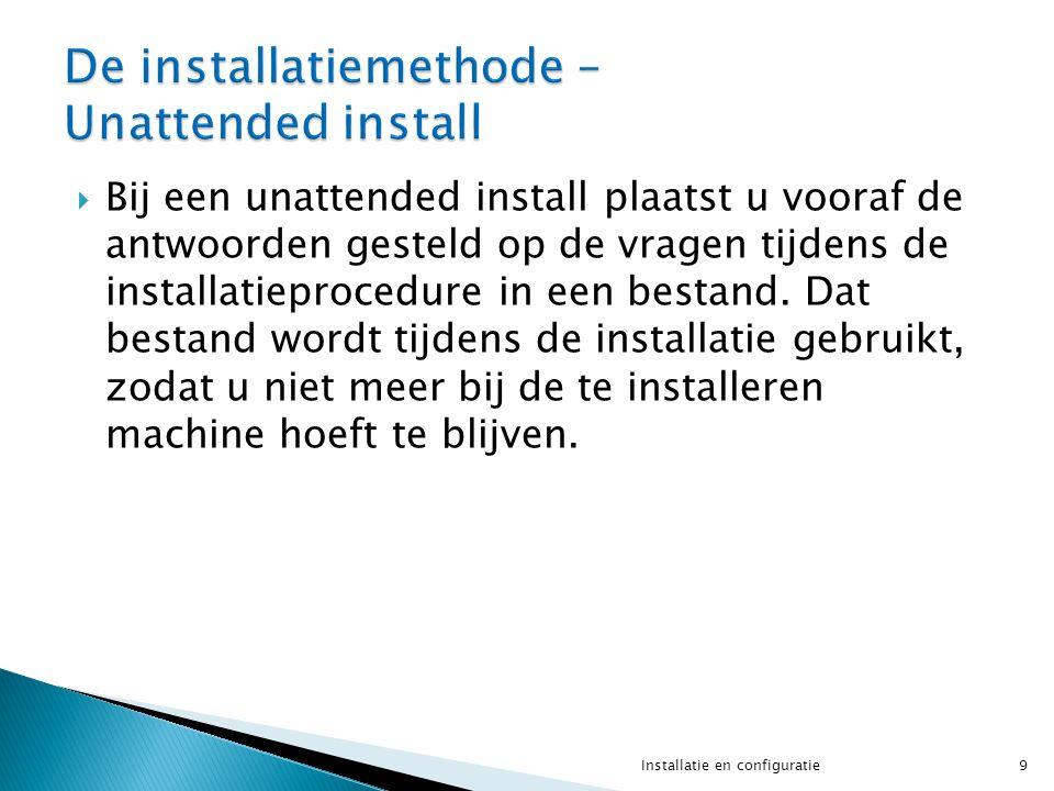  Bij een unattended install plaatst u vooraf de antwoorden gesteld op de vragen tijdens de installatieprocedure in een bestand.