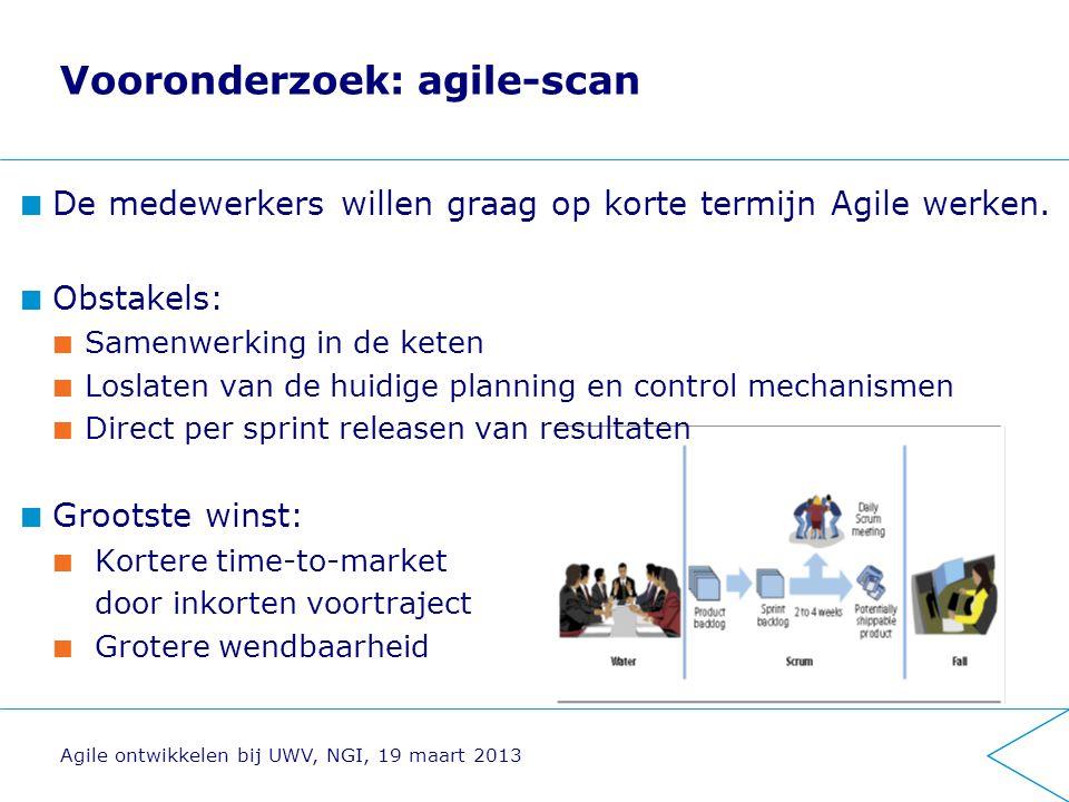 Vooronderzoek: agile-scan De medewerkers willen graag op korte termijn Agile werken. Obstakels: Samenwerking in de keten Loslaten van de huidige plann