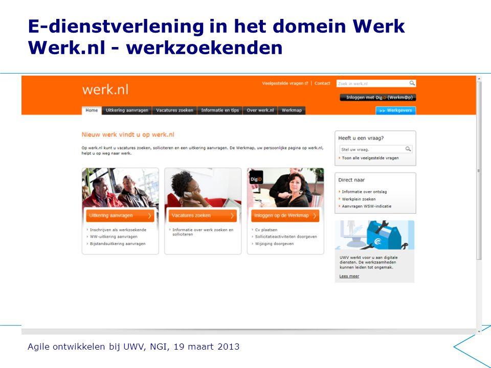 E-dienstverlening in het domein Werk Werk.nl - werkgevers Agile ontwikkelen bij UWV, NGI, 19 maart 2013