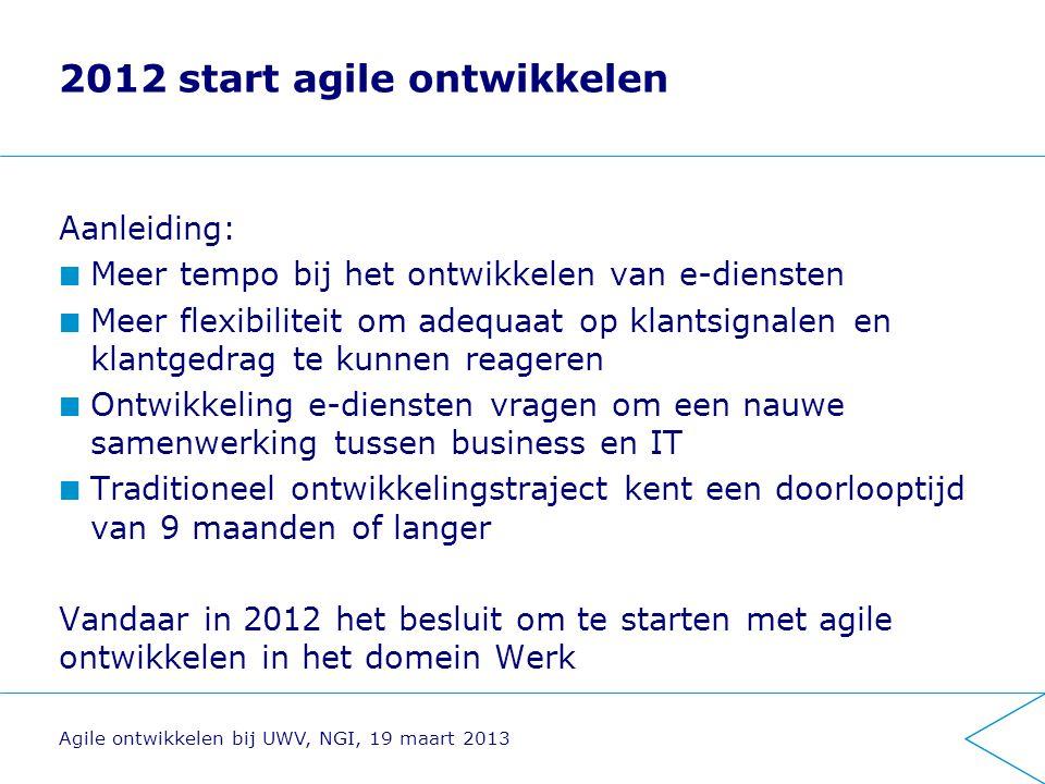 Implementatie: aanpak en ervaringen Vooronderzoek naar de mogelijkheden en beperkingen van agile werken binnen UWV Implementatie Governance Ervaringen Agile ontwikkelen bij UWV, NGI, 19 maart 2013