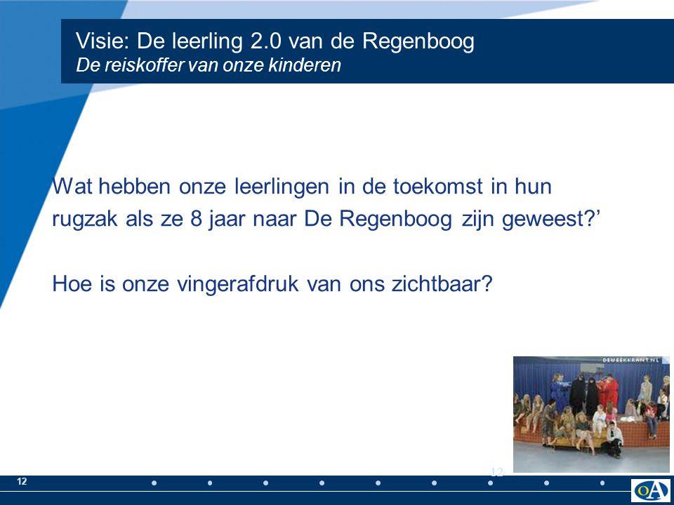 12 Visie: De leerling 2.0 van de Regenboog De reiskoffer van onze kinderen Wat hebben onze leerlingen in de toekomst in hun rugzak als ze 8 jaar naar