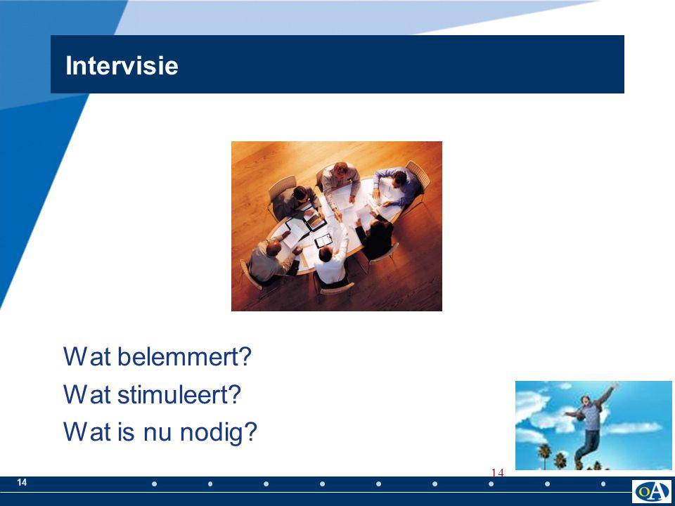 14 Wat belemmert? Wat stimuleert? Wat is nu nodig? Intervisie