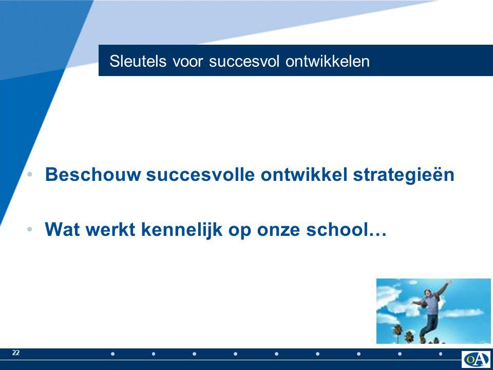 22 Sleutels voor succesvol ontwikkelen Beschouw succesvolle ontwikkel strategieën Wat werkt kennelijk op onze school…