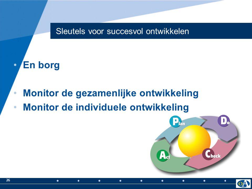 26 Sleutels voor succesvol ontwikkelen En borg Monitor de gezamenlijke ontwikkeling Monitor de individuele ontwikkeling