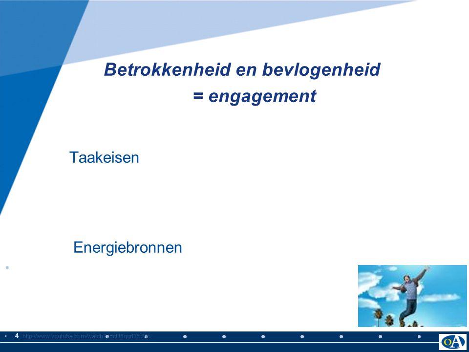 4 Betrokkenheid en bevlogenheid = engagement Taakeisen Energiebronnen http://www.youtube.com/watch?v=cU6gqrD5cMc