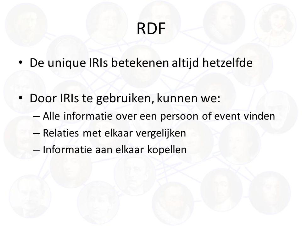 RDF De unique IRIs betekenen altijd hetzelfde Door IRIs te gebruiken, kunnen we: – Alle informatie over een persoon of event vinden – Relaties met elkaar vergelijken – Informatie aan elkaar kopellen