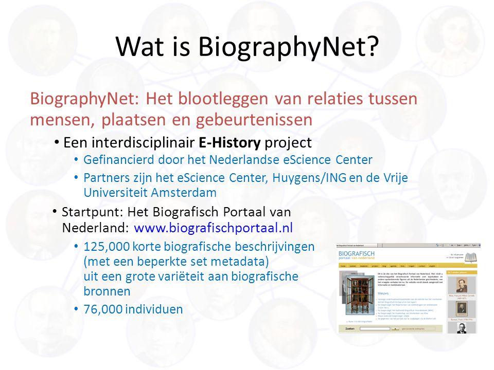 BiographyNet: Het blootleggen van relaties tussen mensen, plaatsen en gebeurtenissen Een interdisciplinair E-History project Wat is BiographyNet.