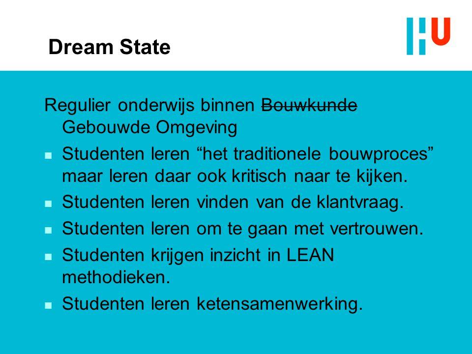 """Dream State Regulier onderwijs binnen Bouwkunde Gebouwde Omgeving n Studenten leren """"het traditionele bouwproces"""" maar leren daar ook kritisch naar te"""