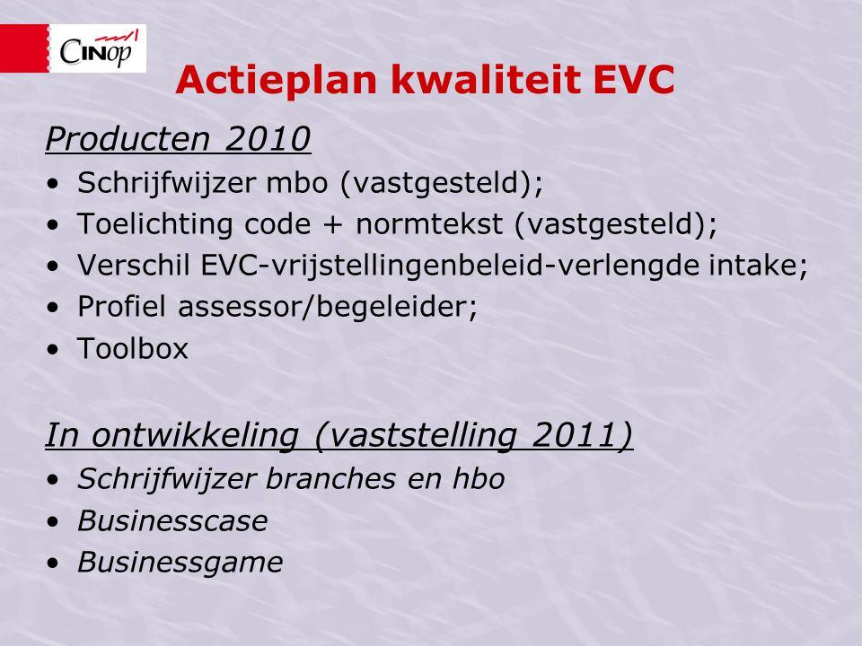 Actieplan kwaliteit EVC Werkconferentie organiseren van EVC Dinsdag 5 april, Utrecht, Vergadercentrum Vredenburg Woensdag 6 april, Zwolle, Bilderberg Grand Hotel Wientjes Donderdag 14 april, Eindhoven, Aristo Holding BV.